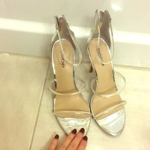 Bebe clear and silver heels